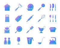 De pictogrammen vectorreeks van de keukengerei eenvoudige gradiënt vector illustratie