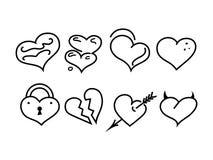 De pictogrammen vectorsymbolen van de hartlijn Stock Foto's