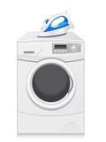 De pictogrammen zijn een wasmachine en een ijzer Stock Afbeeldingen
