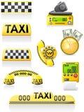 De pictogrammen zijn symbolen van taxi Stock Foto's