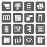 De pictogrammen zijn vlakke bouw, het eindigen materialen, reparatie Royalty-vrije Stock Foto's