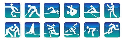 De pictogrammenblauw van sporten Stock Foto's