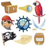 De pictogrammeninzameling van de piraat Royalty-vrije Stock Afbeelding