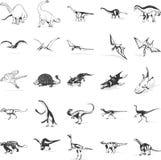 De pictogrammeninzameling van dinosaurussen Stock Foto's