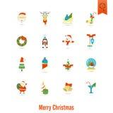 De pictogrammeninzameling van Kerstmis en van de Winter Royalty-vrije Stock Afbeeldingen