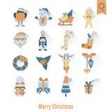 De pictogrammeninzameling van Kerstmis en van de Winter Stock Afbeelding