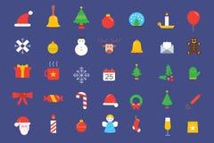 De pictogrammeninzameling van Kerstmiselementen royalty-vrije illustratie