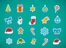 De pictogrammeninzameling van Kerstmiselementen stock illustratie