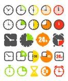 De pictogrammeninzameling van Tmer die op wit wordt geïsoleerdn stock illustratie