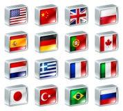 De pictogrammenknopen van de vlag Stock Afbeeldingen