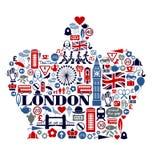 De Pictogrammenoriëntatiepunten en attractio van Londen Groot-Brittannië Stock Foto