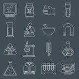 De pictogrammenoverzicht van het laboratoriummateriaal Stock Afbeelding