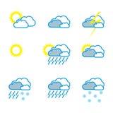 De pictogrammenoverzicht van het weer Royalty-vrije Stock Afbeelding