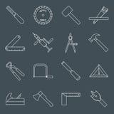 De pictogrammenoverzicht van timmerwerkhulpmiddelen Royalty-vrije Stock Foto's