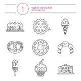 De pictogrammenreeks van de lijnstijl desserts Royalty-vrije Stock Foto