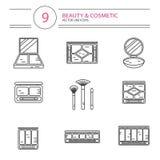 De pictogrammenreeks van de lijnstijl van schoonheid Royalty-vrije Stock Foto's