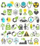 De Pictogrammentekens van Eco Vriendschappelijke Bio Groene Energiebronnen Geplaatst Geïsoleerd o Stock Foto