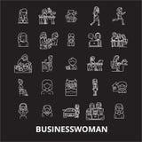 De pictogrammenvector van de bedrijfsvrouwen editable die lijn op zwarte achtergrond wordt geplaatst Illustraties van het bedrijf royalty-vrije illustratie