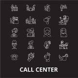 De pictogrammenvector van de call centre editable die lijn op zwarte achtergrond wordt geplaatst Illustraties van het call centre vector illustratie