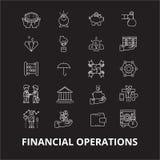 De pictogrammenvector van de financiële transacties editable die lijn op zwarte achtergrond wordt geplaatst Financiële transactie stock illustratie