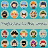 De pictogrammenwereld van beroepen Stock Afbeeldingen