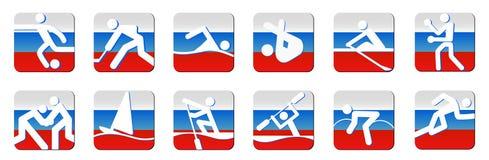 De pictogrammenwit van sporten op vlag Stock Foto's
