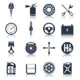 De pictogrammenzwarte van autodelen stock illustratie