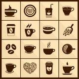 De pictogrammenzwarte van de koffiekop Stock Foto