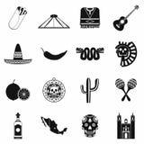 De pictogrammenzwarte van Mexico royalty-vrije illustratie