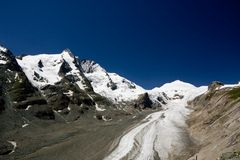 De piek Grossglockner en Pasterze de gletsjer, Alpen Stock Foto