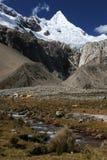 De piek van Alpamayo, Peru Royalty-vrije Stock Foto's