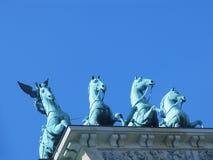 De Piek van Brandenburger - quadriga Royalty-vrije Stock Foto