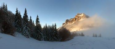 De piek van de berg bij de winter - Roszutec - Slowakije stock foto's