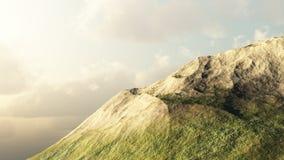 De piek van de berg bij de zonsondergang Vector Illustratie