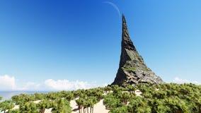De piek van een rotsachtige berg op een tropische 3D eilandoverzees geeft terug royalty-vrije illustratie