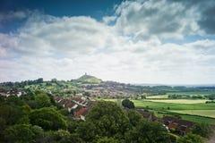 De Piek van Glastonbury die van Heuvel Wearyall wordt bekeken Royalty-vrije Stock Fotografie