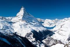 De piek van Matterhorn. Zermatt, Zwitserland Stock Foto's