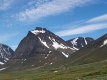 De piek van Tuolpagorni in Nationaal Park Kebnekaise Royalty-vrije Stock Afbeelding