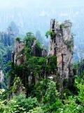 De pieken, de rotsen, Chinees zhangjiajielandschap stock afbeeldingen