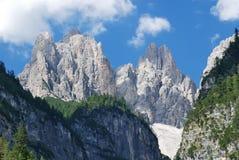 De pieken van de Steen van Dolomiti in Val Cimoliana Stock Fotografie