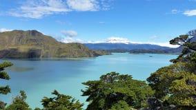 De Pieken van Patagonië en groene heuvels met gletsjermeer Royalty-vrije Stock Foto's