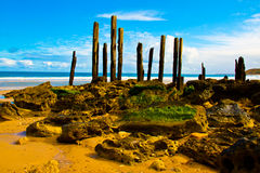 De pier en de rotsen van Willunga van de haven Stock Foto's