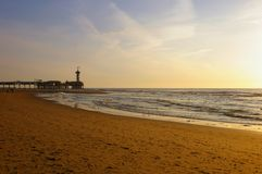 De Pier in Scheveningen the Netherlands. At sunset royalty free stock photography