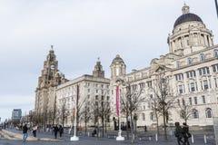 De Pierhead-Gebouwen in Liverpool Merseyside Engeland Stock Foto's