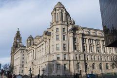 De Pierhead-Gebouwen in Liverpool Merseyside Engeland Stock Afbeeldingen
