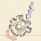 De pignon en levin van de schets stock illustratie