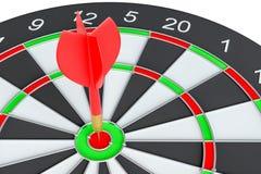 De pijl die van het doelpijltje in het dartboard raken Royalty-vrije Stock Foto