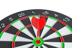 De pijl die van het doelpijltje in het dartboard raken Stock Afbeeldingen