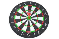 De pijl die van het doelpijltje in het dartboard raken Stock Afbeelding