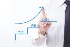 De pijl die van de zakenmankraan benadrukken met ja kunnen wij - Motivatie B Stock Afbeelding